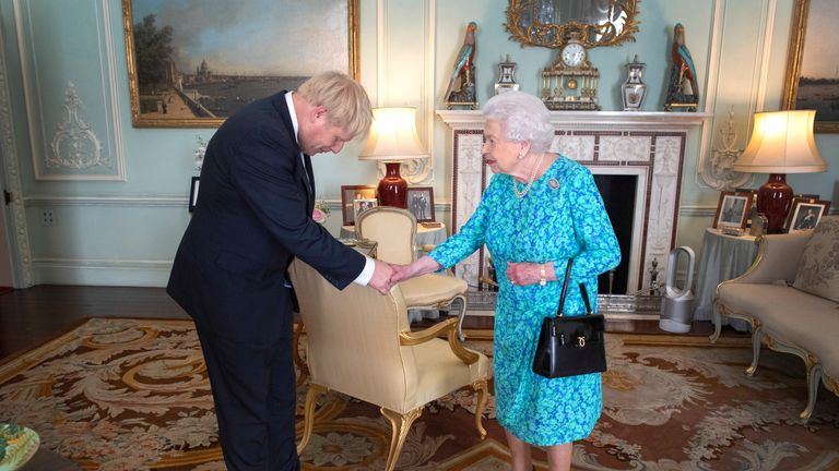 Boris Johnson meets the Queen after being elected leader of the Conservative Party