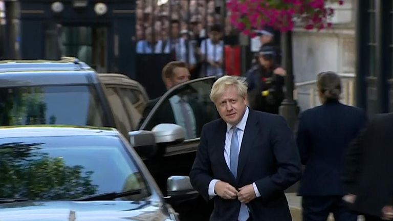 Boris Johnson arrives in Downing Street after visiting The Queen and becoming prime minister