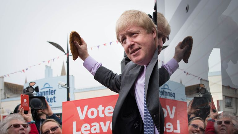 Boris Johnson holding a Cornish pasty in Truro, Cornwall, in May 2016