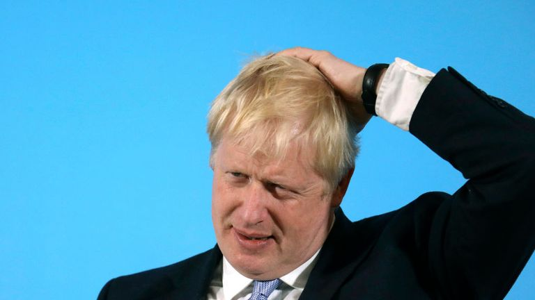 Conservative party leadership contender Boris Johnson speaks during a party leadership hustings in Belfast, Northern Ireland Tuesday July 2, 2019. The two contenders, Jeremy Hunt and Boris Johnson face election by party member of Britain's Conservative Party with the winner replacing Prime Minister Theresa May as party leader and UK prime minister. (AP Photo/Peter Morrison)..