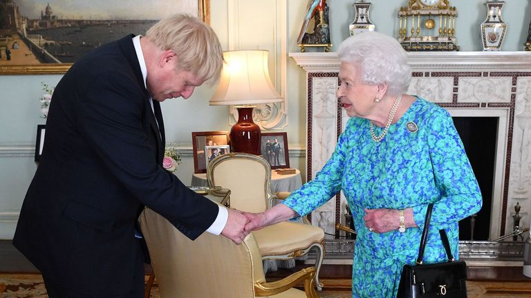 Queen Elizabeth II welcomes newly elected leader of the Conservative party Boris Johnson during an audience in Buckingham Palace, London, where she invited him to become Prime Minister and form a new government. PRESS ASSOCIATION Photo. Picture date: Wednesday July 24, 2019. See PA story POLITICS Tories. Photo credit should read: Victoria Jones/PA Wire