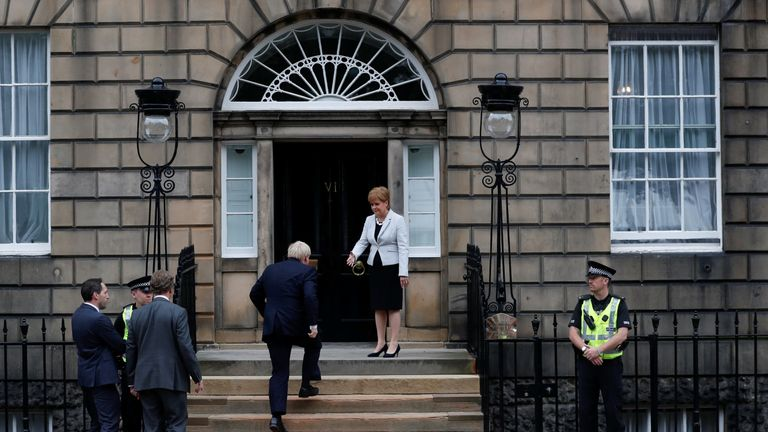 Scotland's First Minister Nicola Sturgeon welcomes Britain's Prime Minister Boris Johnson at Bute House in Edinburgh, Scotland, Britain July 29, 2019.