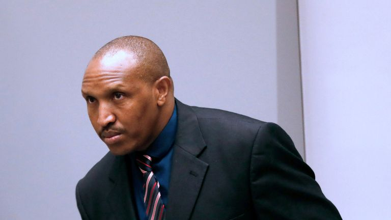 Former Congolese warlord Bosco Ntaganda at the International Criminal Court