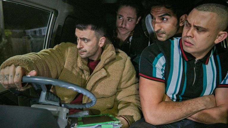 Joe Gilgun (left) stars in new Sky One comedy Brassic. Pic: Sky One/ NOW TV