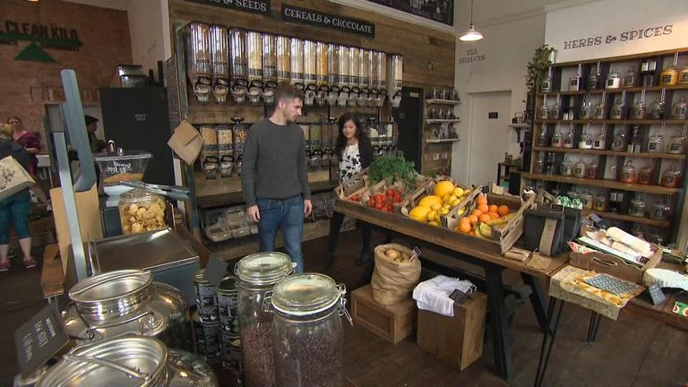 Tom Pell, owner of Birmingham's first zero waste supermarket, and his partner, Jeanette Wong, are concerned