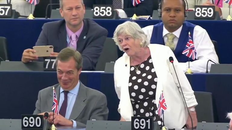 Ann Widdecombe was the first Brexit party MEP to speak in new European parliament