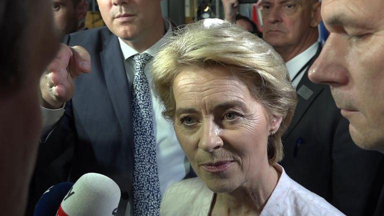 EU commission president-elect Ursula Von der Leyen gave the first British interview to Sky News - about Brexit