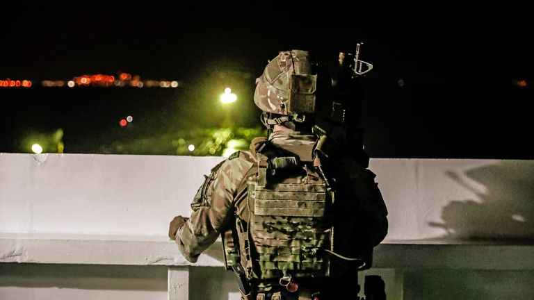 A British soldier during the capture of an Iranian tanker off the coast of Gibraltar
