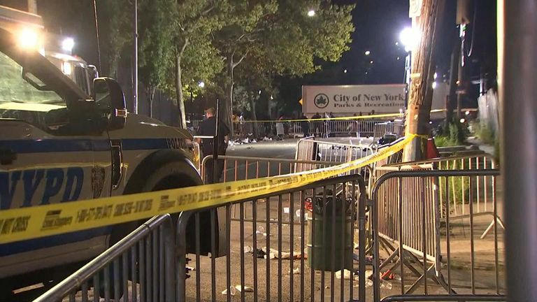 Twelve people have been shot and one person has died at an outdoor community event in the New York City borough of Brooklyn.