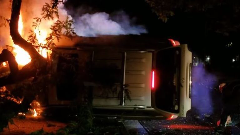 Driver rescued from a burning vehicle