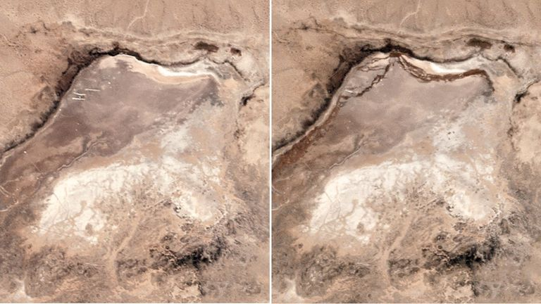 Before and after imagery of the epicentre of the recent Ridgecrest Earthquake. Pic: Planet Labs Inc