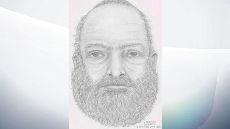 Police released a sketch of the unidentified man, with a heavy build with a grey beard and grey hair. Pic: RCMP