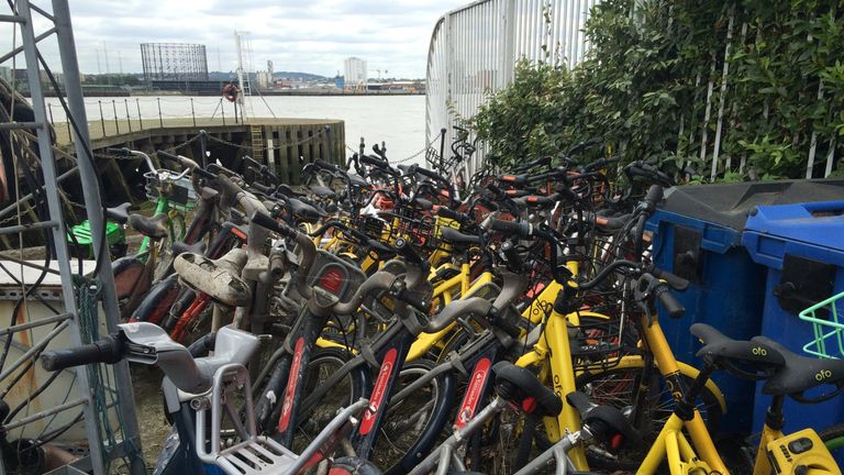 Bikes recovered from waterways in London, Pic: Canal & River Trust