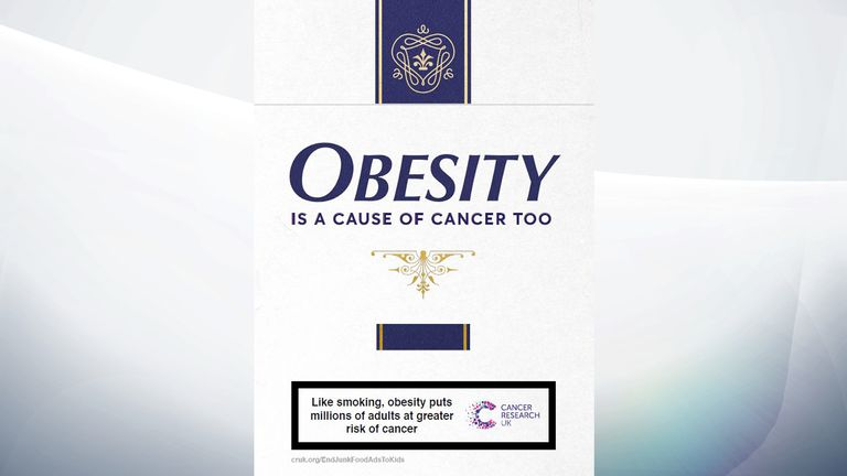The campaign advert is designed to look like a cigarette packet. Pic: Cancer Research UK