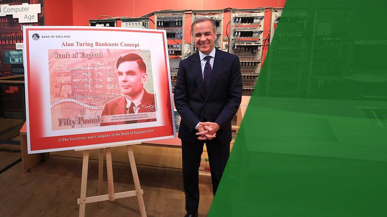 Mark Carney and the new bank note with Alan Turing