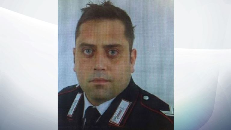 Cerciello Rega was fatally stabbed after a cuffle broke when he met a drug dealer and two American tourists. Pic: Carabinieri