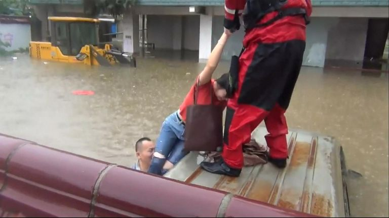 Torrential rains battered many areas in Guilin City, in south China's Guangxi Zhuang Autonomous Region, on Saturday with many urban areas severely waterlogged.
