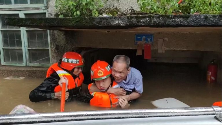 A man is rescued in China