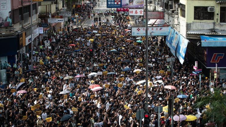 Demonstrators have been marching against traders from mainland China