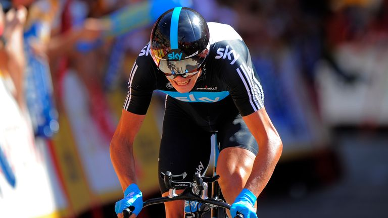 Chris Froome rides during the tenth stage of the Vuelta cycling tour in 2011