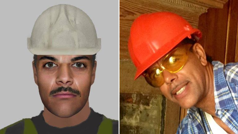 Chris Kamara (right, or is it left?) and the police e-fit. Pics: Cleethorpes Community Policing Team/Chris Kamara