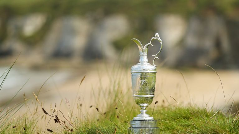 The Claret Jug is seen during a practice round prior to the 148th Open Championship held on the Dunluce Links at Royal Portrush Golf Club on July 16, 2019 in Portrush, United Kingdom