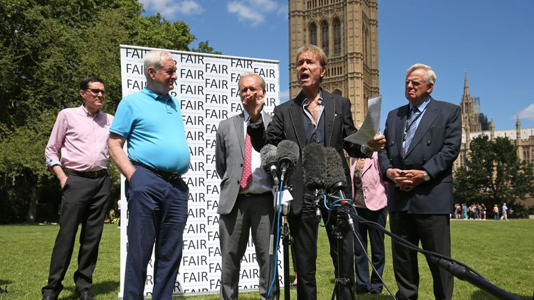 (second left to right) Paul Gambaccini, Daniel Janner and Sir Cliff Richard at an event in Westminster
