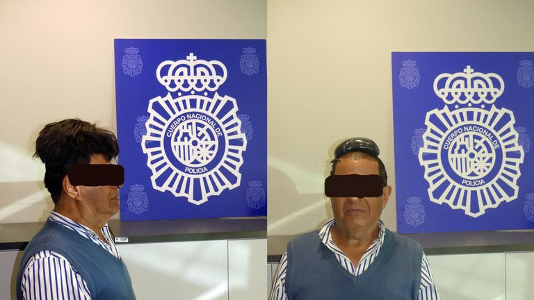 The man was caught with half a kilogram of cocaine hidden under his toupee. Pic: Policia National