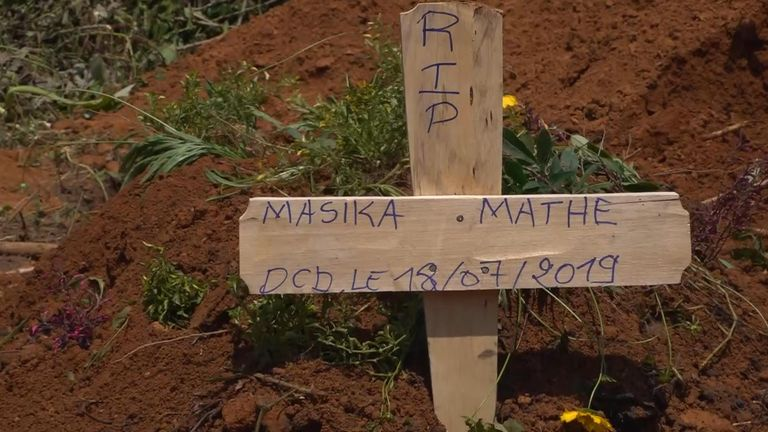 The grave of young girl Masika Mathe, who is feared to have contracted Ebola