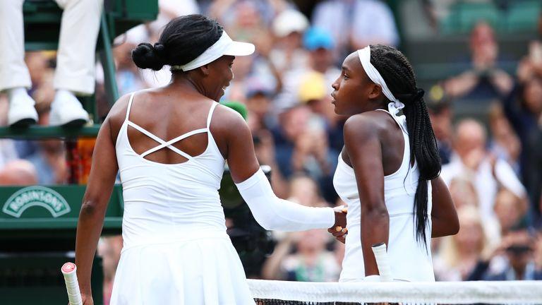 Cori Gauff at the net with Venus Williams
