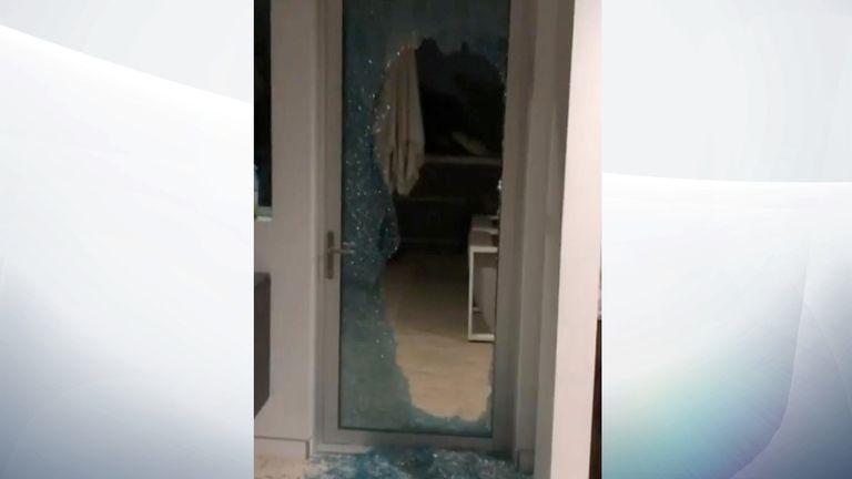 Sturridge posted video showing a broken door. Pic: Daniel Sturridge