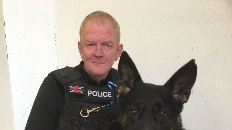 PC Mike Davey and Police Dog Bacca are being celebrated at the 2019 National Police Bravery Awards. They were both injured by a crazed knifeman. Pic: West Mercia Police Fed