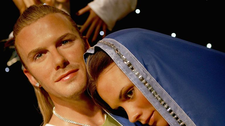 Waxworks of David and Victoria Beckham as Joseph and Mary are seen in a nativity scene at Madame Tussauds for Christmas on December 8 2004 in London