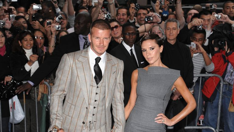 David Beckham and Victoria Beckham arrive at the Beckham Signature fragrance launch at Macy's Herald Square on September 26, 2008 in New York City