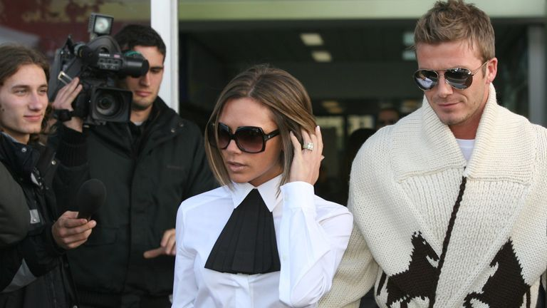 David and Victoria Beckham arrive at Ciampino Airport, as part of Katie Holmes and Tom Cruise wedding at Bracciano on November 17, 2006 in Rome, Italy