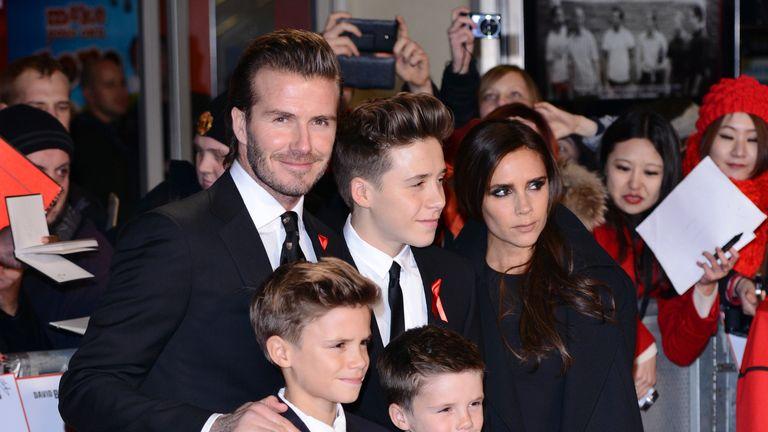 "David Beckham, Romeo Beckham, Brooklyn Beckham, Cruz Beckham and Victoria Beckham attend the world premiere of ""The Class of 92"" at the Odeon West End on December 1, 2013 in London, England"