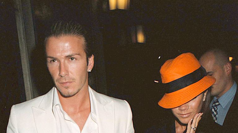 David and Victoria Beckham pictured at the Ivy in 2003