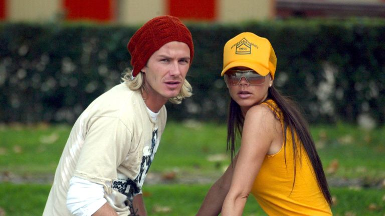 David and Victoria Beckham pictured in Madrid in 2003