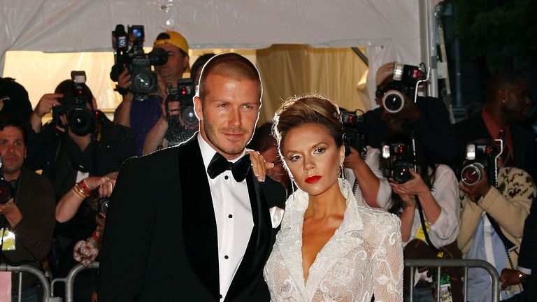 David and Victoria Beckham arrive at the Met Gala, Superheroes: Fashion and Fantasy, held at the Metropolitan Museum of Art on May 5, 2008 in New York City.. .