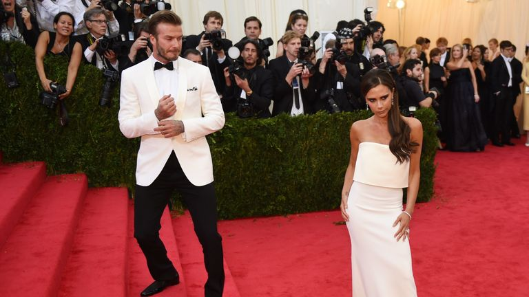Met Gala: David Beckham (L) and Victoria Beckham (R) arrive at the Costume Institute Benefit at The Metropolitan Museum of Art May 5, 2014 in New York. AFP PHOTO/Timothy A. CLARY