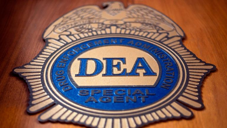 A logo reading DEA Special Agent is pictured in the Office of the US Drug Enforcement Administration (DEA) on May 29, 2019 in New York City