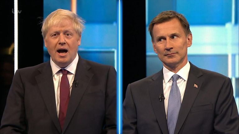 Conservative party leadership candidates Boris Johnson and Jeremy Hunt clash in their first face-to-face debate. Britain's Next Prime Minister: The ITV Debate