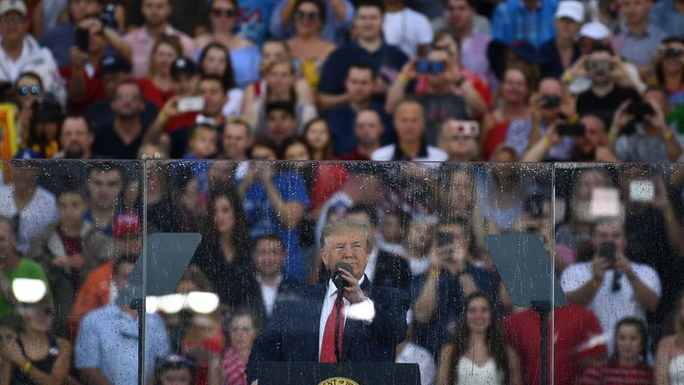 "US President Donald Trump speaks during the ""Salute to America"" Fourth of July event at the Lincoln Memorial in Washington, DC, July 4, 2019. (Photo by Brendan Smialowski / AFP) (Photo credit should read BRENDAN SMIALOWSKI/AFP/Getty Images)"