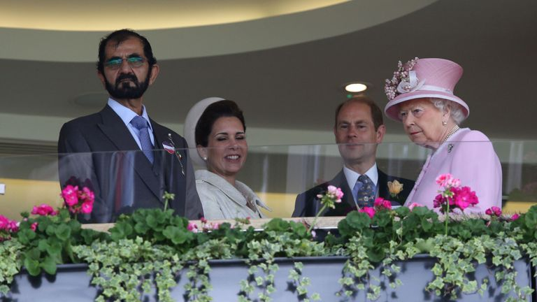 The Queen (R) and Prince Edward greet Sheikh Mohammed and wife Princess Haya at Royal Ascot in 2016