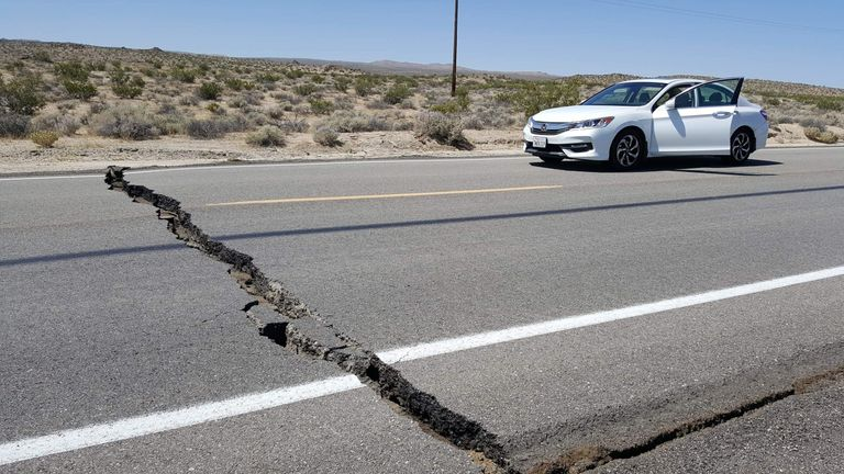 The force of the earthquake left a crack through this highway Pic: Karaleigh Roe