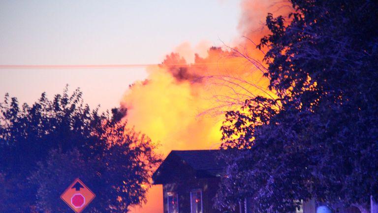 A house burns in Ridgecrest, near the quake'e epicentre