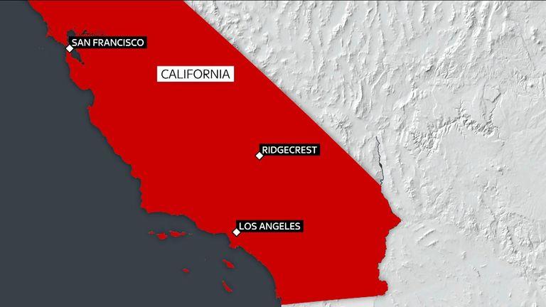 The epicentre was near Ridgecrest, about 150 miles north of LA
