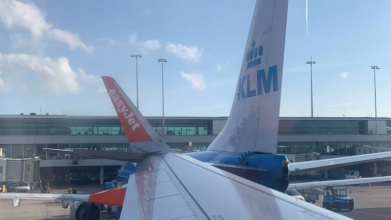 The easyJjet plane after it collided with a KLM plane while heading for the runway at Amsterdam's Schiphol airport