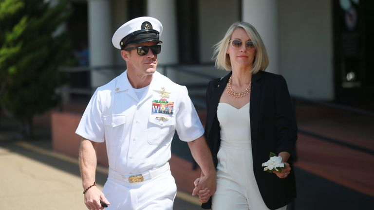 Edward Gallagher and his wife Andrea outside the court martial