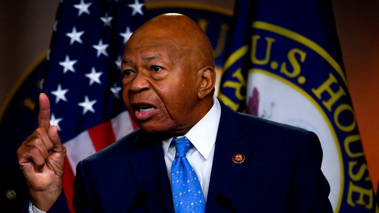 US Representative Elijah Cummings, Democrat of Maryland and Chairman of the House Oversight and Reform Committee, gestures as he delivers a press conference following the former Special Counsel's testimony before the House Select Committee on Intelligence in Washington, DC, on July 24, 2019